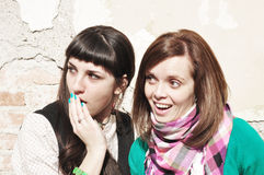 Gossip. Two teenage girls sharing a secret Royalty Free Stock Image