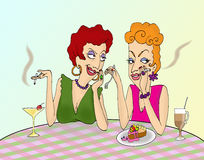 Gossip. Two nosey women gossiping in a caf Royalty Free Stock Image