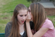 Gossip. A picture of two teenage girls sitting on a park bench whispering the latest gossip to each other Stock Photography