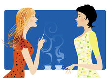 Gossip. Two ladies drinking cafe and gossiping Stock Illustration