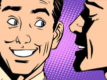 Gossip business concept. Pop art retro style. The man whispers in your ear vector illustration