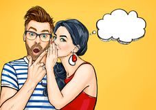 Gossip couple. Amazed man and woman talking about something. Pop Art people conversation. Man and woman talking vector illustration