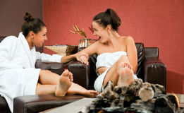 Gossip females relax room Royalty Free Stock Photos