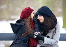 Gossip Girls on a Cold Winter Outdoors. Gossip girl smiling in delight while listening to a secret outdoors stock photo