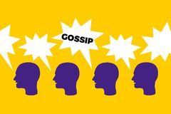 Gossip. Organic spread of informal and negative information through social talking and speaking with people in the group. Verbal attack and assault through stock illustration