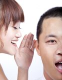 Gossip between man and woman Royalty Free Stock Photos