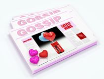 Gossip newspaper. Newspaper of gossip with three color heart -digital artwork stock illustration