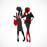 Gossip. Office gossip of two fashion girls vector illustration Royalty Free Stock Images