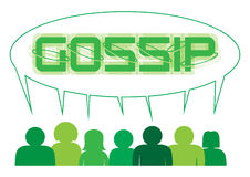 Gossip People. A silhouette of a group of people sharing and gossipping in a large speech bubble isolated on a white background Royalty Free Stock Images