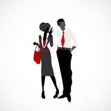 Gossip. Personal conversation between woman and man vector illustration Royalty Free Stock Images
