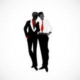 Gossip. Private discreet conversation in business style vector illustration Stock Image