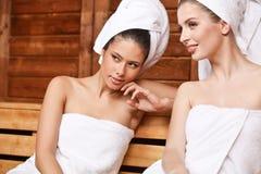 Gossip in Sauna royalty free stock image