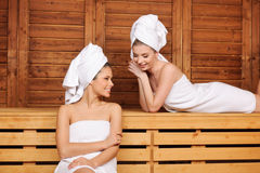 Gossip in Sauna. Two beautiful laughing females sitting and talking in sauna royalty free stock photo