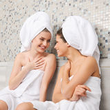 Gossip in Sauna royalty free stock images