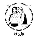 The gossip sin. Illustration with a womans on the theme of gossip Stock Photo