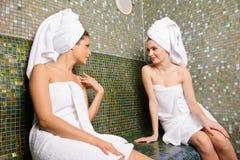 Gossip talking in Turkish sauna royalty free stock photo
