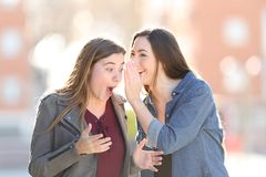 Gossip woman telling secret to her surprised friend royalty free stock image