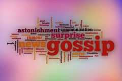 Gossip word cloud with abstract background Stock Image