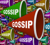 Gossip - Word on Many Bullhorns. Many Bullhorns with the word Gossip on it Stock Photos