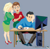 Gossip at work. Women gossip about a man sitting at a computer royalty free illustration