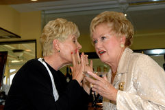 Gossiping in bar. Two well dressed senior women sharing a secret in a bar Royalty Free Stock Photos