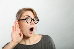 Gossiping shocked girl portrait. Royalty Free Stock Photos