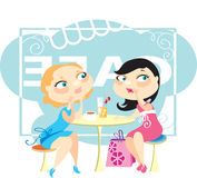 Gossips. Two young girls talk, sitting in cafe Royalty Free Stock Image