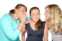 Gossips. 3 girls takling. Isolated on the white background Royalty Free Stock Images