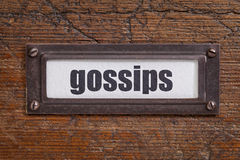 Gossips file cabinet  label Stock Images