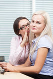 Gossips at work. Two young women gossiping at work Stock Photography