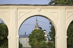 Gostiny Dvor op het Hof van Yaroslav in Novgorod Groot (Veliky Novgorod) Rusland Royalty-vrije Stock Afbeeldingen