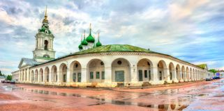 Gostiny Dvor, provincial Neoclassical trading arcades in Kostroma, Russia. Gostiny Dvor, provincial Neoclassical trading arcades in Kostroma, the Golden Ring of Royalty Free Stock Photos