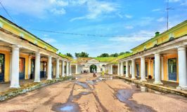 Gostiny Dvor, provincial Neoclassical trading arcades in Kostroma, Russia. Gostiny Dvor, provincial Neoclassical trading arcades in Kostroma, the Golden Ring of Royalty Free Stock Photography