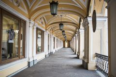 Gostiny Dvor in St. Petersburg. With a rhythmic retreating colonnade view Royalty Free Stock Photo