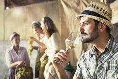 Gosto do fazendeiro um o vidro do vinho branco Imagens de Stock Royalty Free