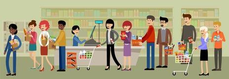 Gotówkowy biurko w supermarkecie i ludzie z zakupami royalty ilustracja
