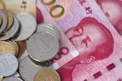 Gotówka, monety i banknoty, pieniądze, RMB zdjęcie stock