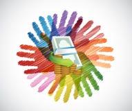 gotówka nad różnorodność ręk okręgiem ilustracji