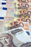 Gotówkowe drachm i euro stare greckie notatki zdjęcia royalty free