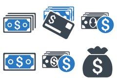 Gotówkowego pieniądze glifu Płaskie ikony Fotografia Stock