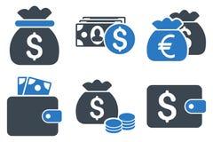 Gotówkowego pieniądze glifu Płaskie ikony Obrazy Stock
