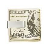 gotówkowej klamerki fałdowy pieniądze Zdjęcia Royalty Free