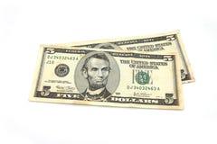 Gotówkowi amerykańscy dolary na bielu zdjęcia royalty free