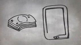 Gotówkowy i komórkowy telefon ilustracja wektor