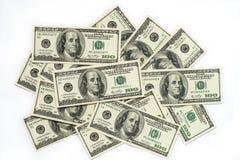 Gotówkowy pieniądze dolar na bielu Zdjęcie Stock