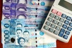 Gotówkowy pieniądze i kalkulator Obrazy Royalty Free