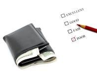 gotówkowy ratingowy oszczędzań systemu portfel Fotografia Stock