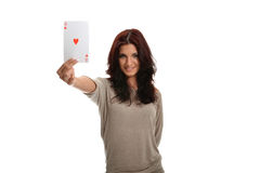 Got The Ace. Beautiful brunette happy with the Ace of Hearts stock photos