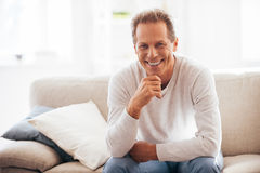 He got candid smile. Stock Image