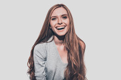 She got candid smile. Stock Photo